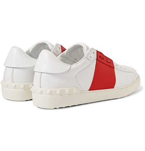 s valentino sneakers valentino striped leather sneakers in white for lyst