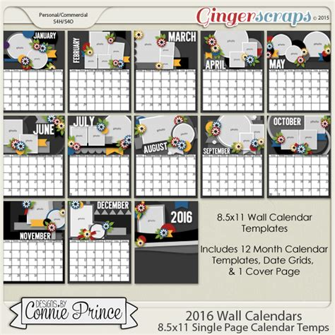 detailed calendar template gingerscraps templates 2016 wall calendar templates