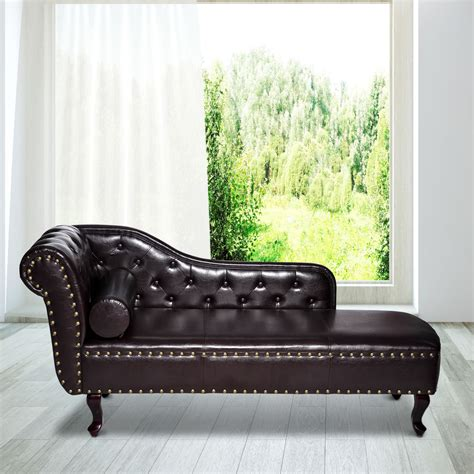 chaise longue leather sofa deluxe vintage style faux leather chaise longue lounge