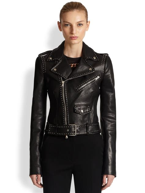 leather moto jacket lyst alexander mcqueen studded leather moto jacket in black