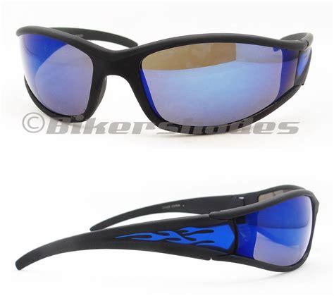 wraparound motorcycle sunglasses mirrored lens