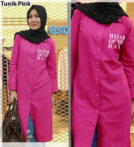 Hijabi Tunik tunik pink grosir tanah abang baju import