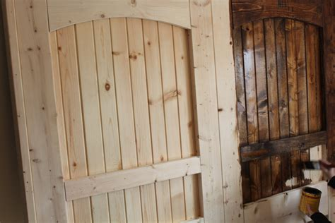 How To Make A Barn Door We Added A Single Coat Of Stain And It Was Time To Attach The Barn Hardware