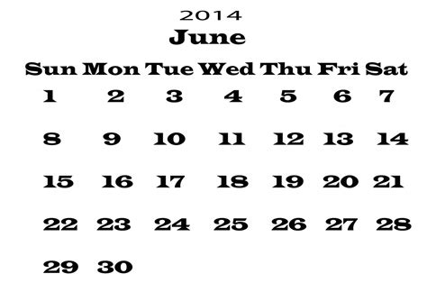 June 2014 Calendar Template by 2014 Calendar June Template Free Stock Photo