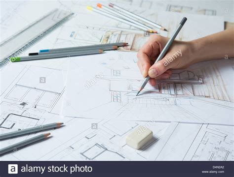 interior designer works on a drawing sketch using color pencils stock photo 54552570 alamy