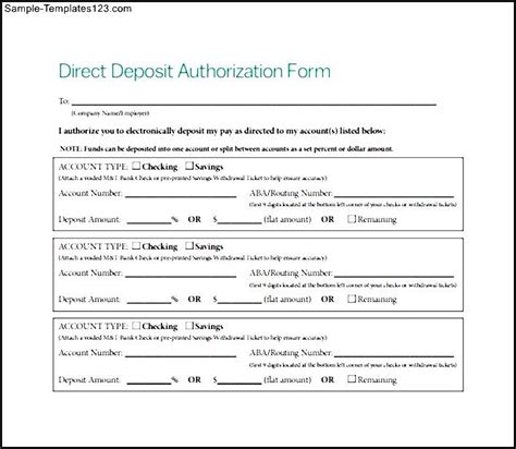 sle direct deposit authorization form free sle