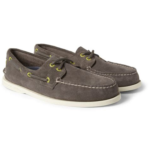 gray boat shoes sperry top sider suede boat shoes in gray for men lyst