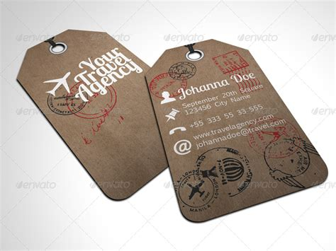 Graphicriver Travel Agency Business Card Design Template by Travel Tag Business Card Template By Freshinkstain