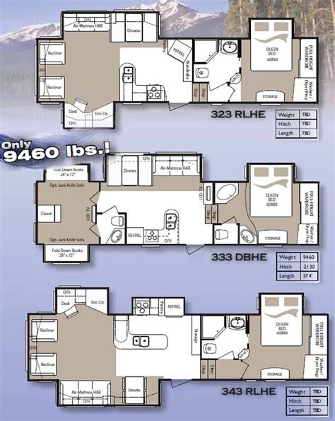 fifth wheel cer floor plans fifth wheel floor plans keystone montana high country fifth wheel floorplans