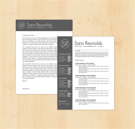 design cv cover page resume template cover letter template the sara by phdpress