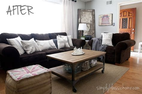 blue walls brown furniture industrial blend living room makeover reveal brown couch