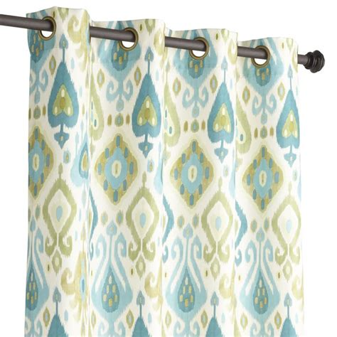 blue green drapes pier 1 ikat curtain blue green houseboat pinterest