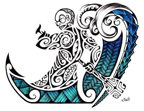 tangaroa tattoo designs maori fusion tiki waves drawing 187 ideas