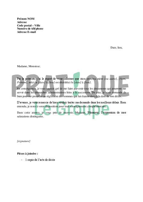 Lettre De Resiliation Mobile Cause Deces modele lettre resiliation suite deces document