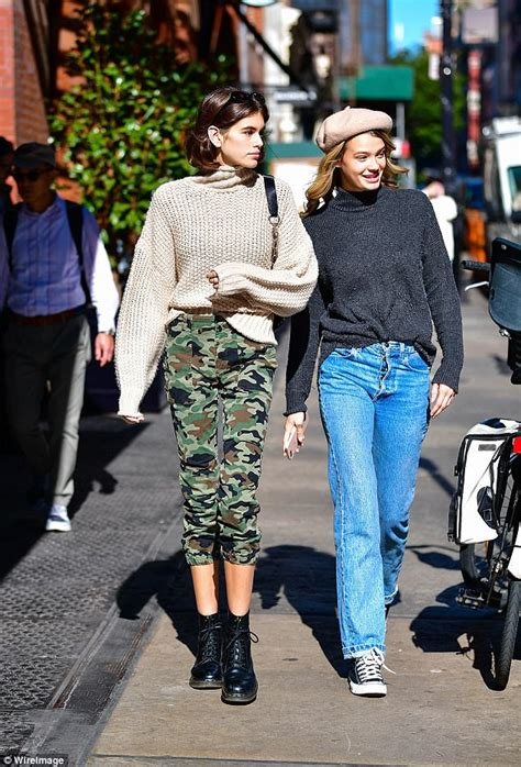 Sweater Pria Model New Casual Green Army Brown Shoulder Patch 447 kaia gerber dons army green for a walk in nyc daily mail