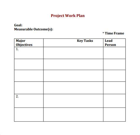 project work plan template work plan template 13 free documents for word