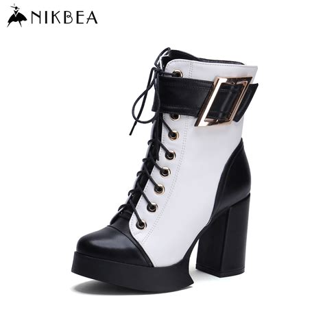 2016 nikbea brand high heel ankle boots genuine leather