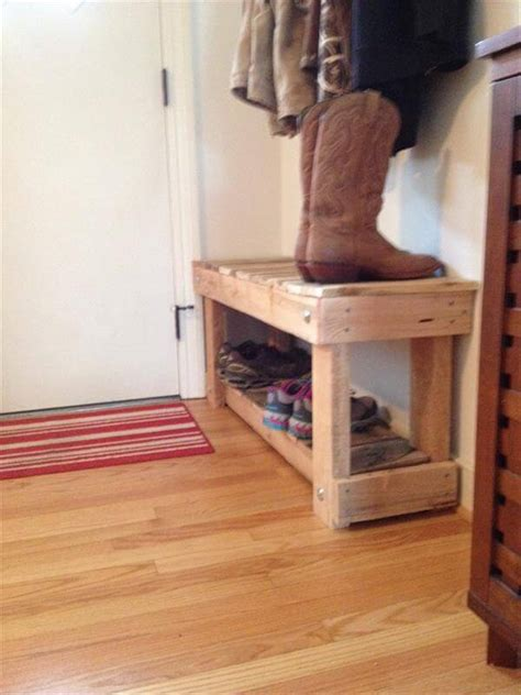 diy shoe rack bench diy pallet entryway bench and shoe rack 101 pallets