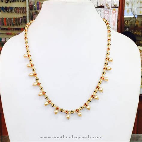 pearl necklace design gold chain designs for the indian wedding