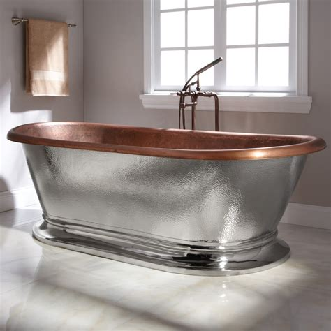 78 quot kelsey copper pedestal tub nickel exterior
