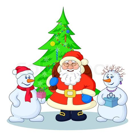 santa claus with tree images santa claus tree and snowmans stock photo colourbox