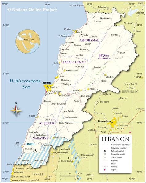 map world lebanon political map of lebanon nations project