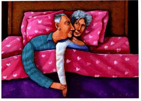 husband romance in bedroom stock illustration romantic elderly couple in bed