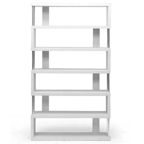 contemporary white bookcase barnes 6 shelf modern bookcase in white fp 6d white