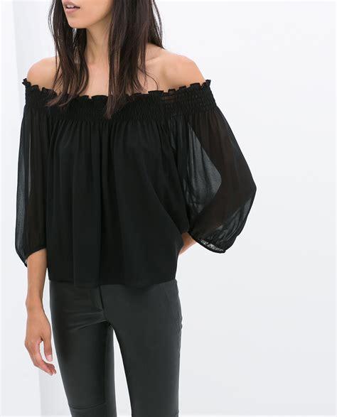 New Zaura Top zara offshoulder blouse in black lyst