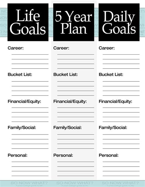 lifestyle templates the 3 steps to a 5 year plan filing goal and personal