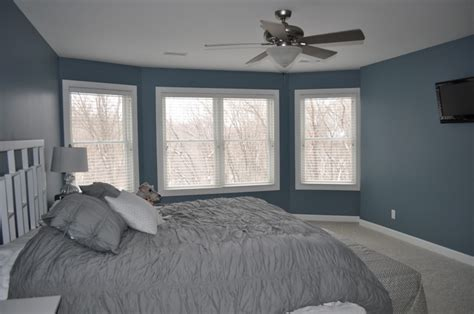 blue and gray bedroom grey and blue wall black bed paint ideas for bedroom