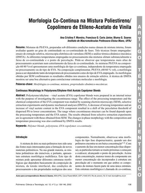 (PDF) Morfologia Co-Contínua na Mistura Poliestireno