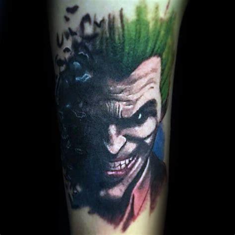 watercolor joker tattoo 90 joker tattoos for men iconic villain design ideas