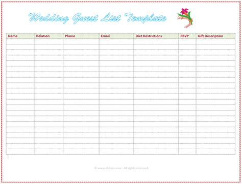 wedding guest list template excel wedding guest list template free excel templates