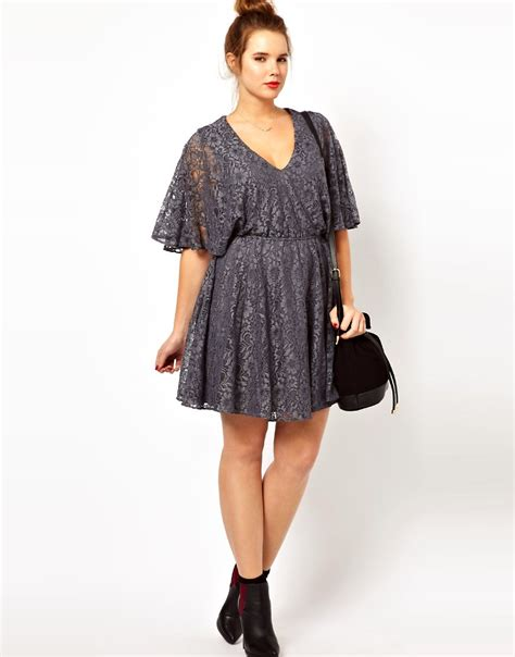 Asos Lace Back Courts by Image 4 Of Asos Curve Lace Dress With Cape Back