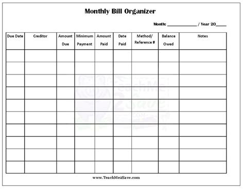 17 Best Images About Monthly Bill Organizer On Pinterest Pocket Cards College Classes And Finance Free Bill Planner Template
