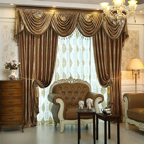 living room drapes and valances 2016 on sales luxury jacquard ready made blackout curtains