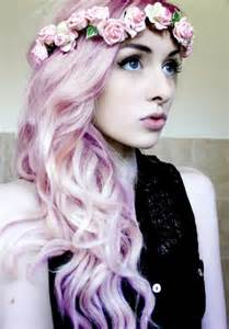 pastel colored hair flower hair wreath that matches pastel hair color