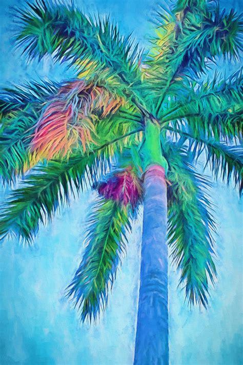 doodle do royal palm caribbean blue i canvas palm trees royal palm palm tree