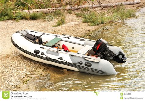 inflatable boat with a motor inflatable boat with a motor royalty free stock