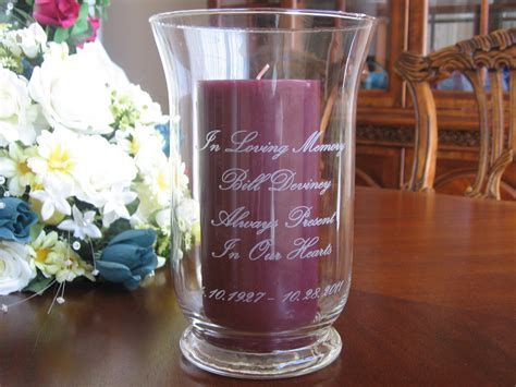 Personalised Memorial Vases by Memorial Candle Holder Personalized Engraved