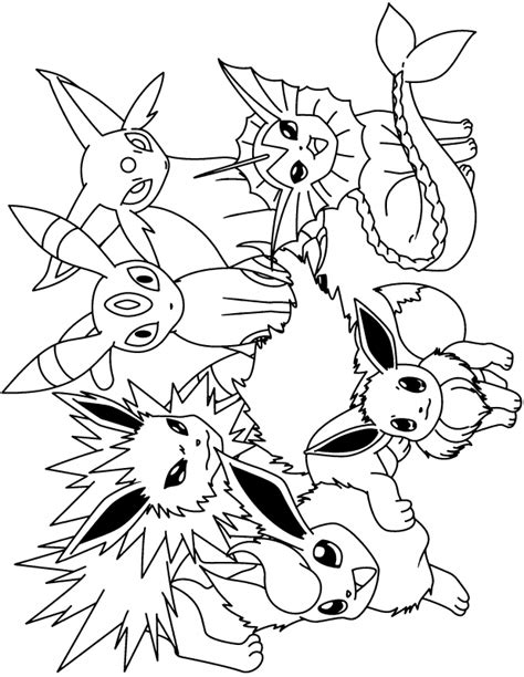 pokemon coloring pages all eevee evolutions pokemon eevee evolutions coloring pages coloring pages