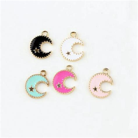 100pcs lot drop zinc alloy colourful moon charm pendants gold color floating enamel fashion