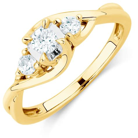 3 In 1 Rings three engagement ring with 1 3 carat tw of diamonds in 10kt yellow gold