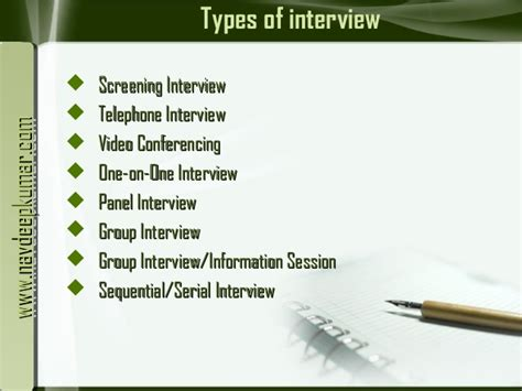 Types Of by Types Of Interviews
