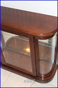 Table Top Wood Curved Glass Mirrored Back Lighted Display