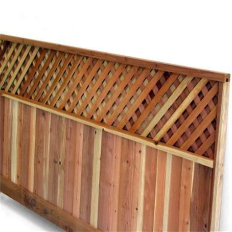 redwood lattice top fence panel common 4 ft x 8 ft