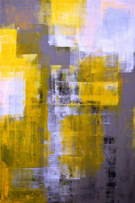 large acrylic abstract painting yellow black by t30gallery