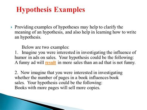 hypothesis template science exles of hypothesis images gallery