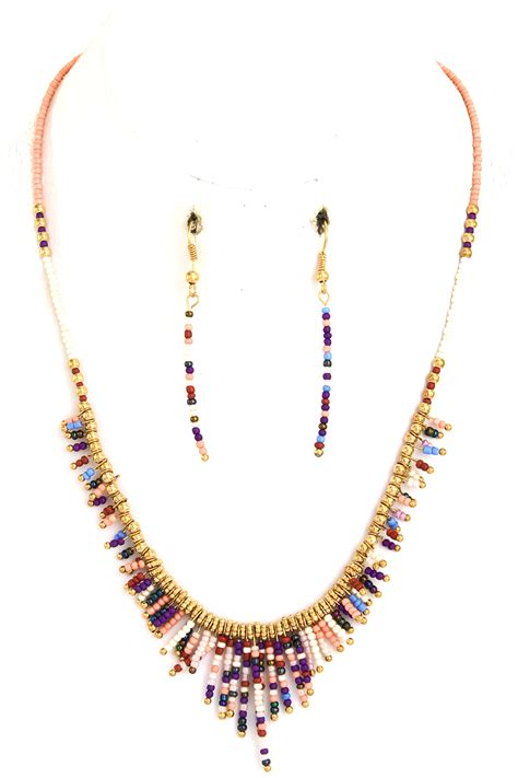seed bead necklace seed bead fringe necklace set necklaces